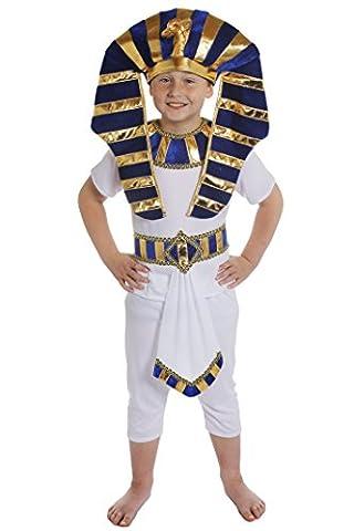 Jungen Ägyptische Fancy Dress Kostüm Kinder Prince Pharao King Tut Alten Ägypten Schule Lehrplan weiß TOP + Hose + Blau & Gold & Weiß Detail Gürtel + große Kopfbedeckung Teppich, (King Tut Kostüm Kind)