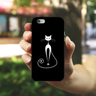 Apple iPhone X Silikon Hülle Case Schutzhülle Katze Cat Kätzchen Silikon Case schwarz / weiß