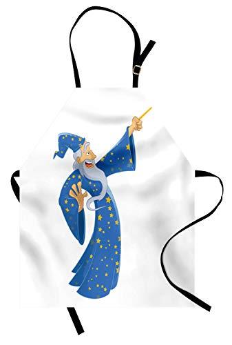 Magier Männliche Kostüm - ABAKUHAUS Magier Kochschürze, Karikatur-lächelnder Alter Mann im sternenklaren Kostüm, das einen Bann-Abracadabra wirft, Maschienenwaschbar Wasserdicht kein Verblassen, Hellgrau Gelb und Blau