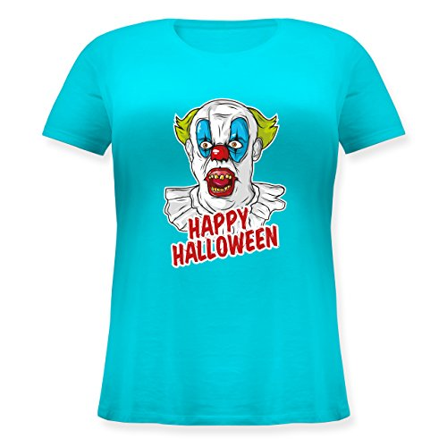 Halloween - Happy Halloween - Clown - XL (50/52) - Hellblau - JHK601 - Lockeres Damen-Shirt in großen Größen mit ()