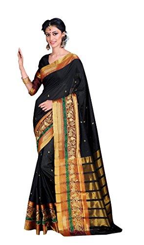 Craftsvilla Womens Poly Cotton double embroidered Zari border Black saree with Blouse...