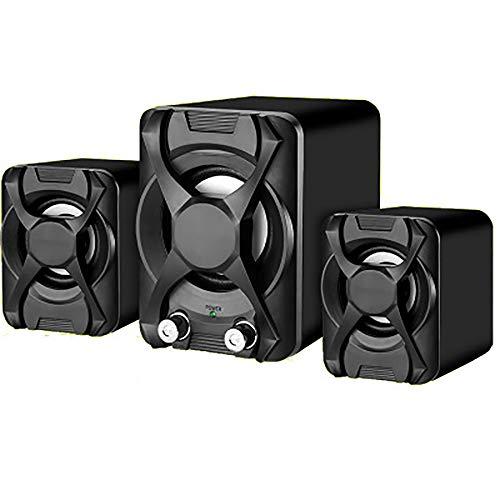 Stereo-Lautsprecher-Beweglicher USB-Lautsprecher Bass Einstellung Anti-Rutsch-Matte Design-Lautstärkeregler Geeignet Für Computer-Telefon,Schwarz