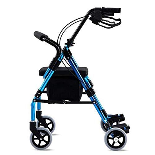 OhLt-j Rollator , Gehhilfen & Gehhilfen Walker Senioren Leichter Rollstuhlwagen Tragbarer Rollstuhl Roller Gehhilfe for Behinderte (Farbe: Blau, Größe: 65 * 63 cm) -