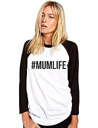 HotScamp mumlife Mum Life Hashtag - Womens Baseball Top