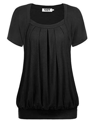 DJT Damen Kurzarm T-Shirt Falten Plissee Faux Twinset Kurzarmshirts Sommer Tunika Schwarz 2XL