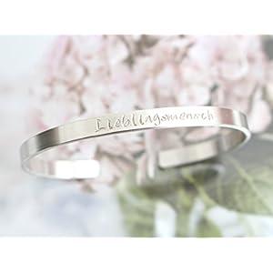 personalisierter, individualisierter SELECT 925 Sterling Silber Armreif Lieblingsmensch 5mm breit 1,5mm dick handgestempelt glänzend
