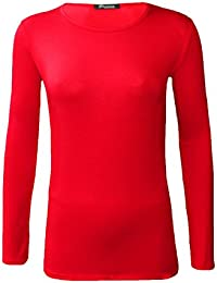 aeedd561d10a5 Z H Ladies Womens Plain Long Sleeve Round Neck Top Basic T Shirt Layering Plus  Sizes UK