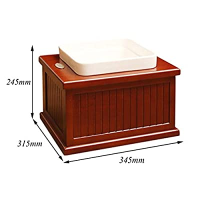 ZRYJWG Elevated Pet Bowl Raised Dog Feeder Cherry wood materialStand elevated dog bowl & 2 Food Grade ceramics dog Bowls - Improves Your Pet's Digestion Premium, Red-brown (34.5×31.5×24.5cm)(L by ZRYJWG