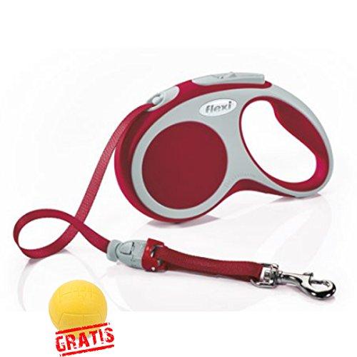 FLEXI VARIO +BALL Gratis Gurtleine Gurt Hundeleine Automatikleine Leine Hunde Rollleine (M(5m,max.25kg), Rot)