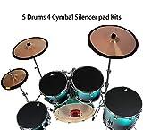 Cojín de tambor, 5 tambor 4 platillos silenciosos almohadillas de goma silenciador silenciador para Kit de batería práctica con platillos silenciadores bandas elásticas 10, 12, 14, 16