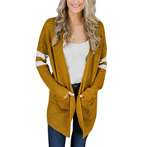 IZHH Damen Strickjacke Mode Gestreifte Lange Ärmel Strickpullover Taschen Lange Strickjacke Top Coat Outwear Outdoor Party ()