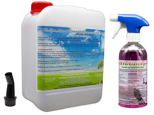 A.K.B. 0296 Spezialreiniger gegen Moos und Grünbelag, Klar, 20 Fach (5 Liter 1 Reiniger gratis) -