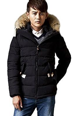 Ghope Herren Kurze verdickte Parka Fellkapuzte Warm Winterjacke Wintermantel Jacket Winter Herrenmantel Wintermantel Mantel Jacke Männer Schwarz Dunkelblau Gr. XS-L