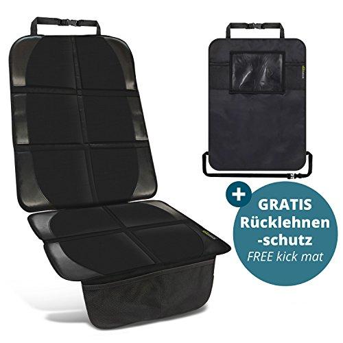 smartpeas Kindersitzunterlage in Schwarz inkl. 1 GRATIS Trittschutz – hochwertiger Autositzschoner in universeller Passform – geeignet für Isofix – rutschfest, pflegeleicht und sicher – von ®