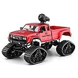 Ferngesteuertes Auto,RC Cars Rock Racing Fahrzeug Crawler Truck 4WD 1:16 2.4Ghz RC Buggy Auto,LED Licht Radio Fernbedienung Buggy Elektro mit HD Kamera 0.3MP WiFi Fernbedienung von IOS,Android (Rot)