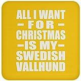 All I Want For Christmas Is My Swedish Vallhund - Coaster Athletic Gold/One Size, Untersetzer Bierdeckel Rutschsicher Kork Korkunterschicht, Geschenk für Geburtstag, Weihnachten