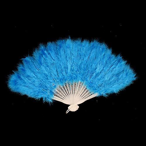 Alextry Neu Federfächer Faltbar Tanz Hand Fan Kostüm Kostüme für Damen Halloween Hochzeit Party Vorräte - See Blau
