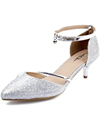 AgeeMi Shoes Mujer Tacón Medio Tobillo Hebilla Diamantes Boda Fiesta Zapatos