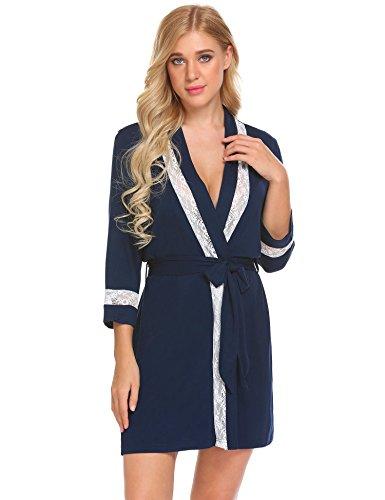 Ekouaer Damen Morgenmantel Bademantel Langarm Tiefer V Ausschnitt Wrap Robe Nachtwäsche Nachthemd mit Gürtel und Spitze