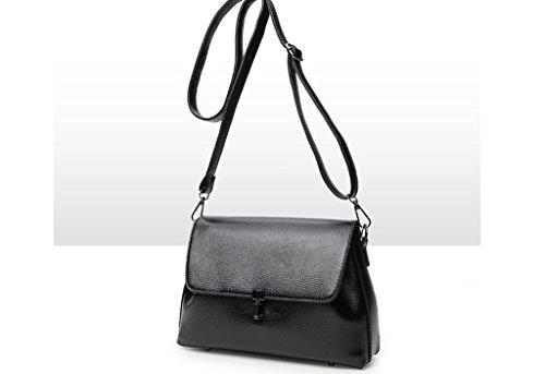 Borsa in pelle goffrata spalla, moda coreana signora portatile, pacchetto diagonale black