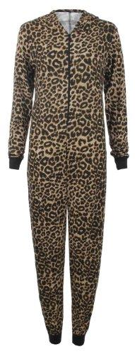 Fast Fashion Damen Leoparden Und Skull Print Kapuze Jersey Body Overall (EUR 36/38 - UK (8-10), Leopard/Brown) (Leopard-print-jersey)