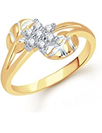 VK Jewels Crossover Leaf Gold and Rhodium Plated Ring- FR1256G- Size 18 [VKFR1256G18]