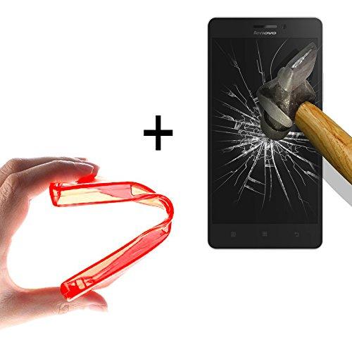 WoowCase | Flexible Gel Schutzhülle für [ Lenovo Vibe Shot ] [ +1 Schutzglas ] Hartglas, Lenovo Vibe Shot Hülle Case TPU Silikon in Rot