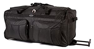 KS-100 34INCH BLACK Large Size Wheeled Holdall Travel Bag with Trolley Handle