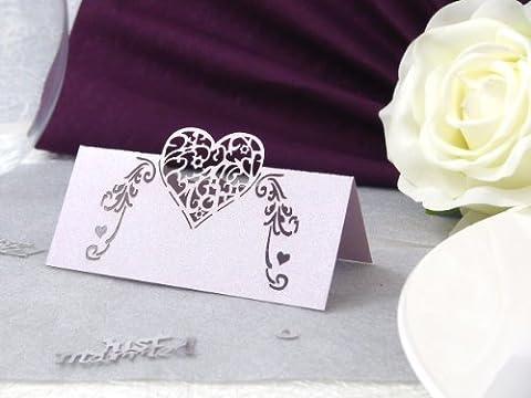 10x Tischkarten Hochzeit EinsSein® Heartbeat _ flieder-schimmernd Hochzeit, Tischkarten, Goldene Hochzeit, Platzkarten, Namenskarten, Goldene Hochzeit, Platzkarte Glas