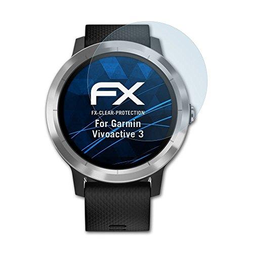 atFoliX Schutzfolie kompatibel mit Garmin Vivoactive 3 Folie, ultraklare FX Bildschirmschutzfolie (3X)