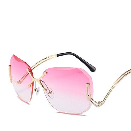 Rahmenlos Sonnenbrillen Frauen Farbiges Trimmen Meeresfilm Metall Sonnenbrillen Straßenschlag Reisen Strandspiegel,E