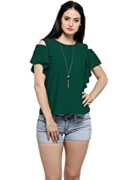 Serein Women's Top (Green Crepe top with Cold Shoulder and Ruffles)