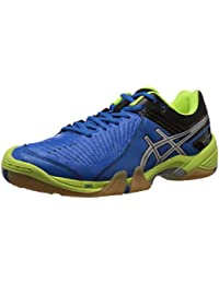 ASICS Men's Domain 3 Electric Blue, Silver and Neon Yellow Mesh Indoor Multisport Court Shoes - 7 UK
