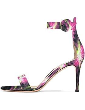 ELASHE - Scarpe da Donna - Open Toe Classico Sandali - 8CM Tacco a Spillo Con Cinturino Caviglia Fibbia