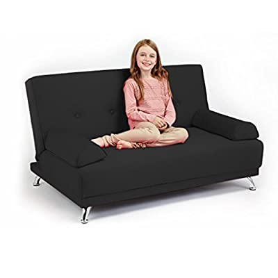 Ready Steady Bed 2-Seater Convertible Clic Clac Children's Sofa Bed, 121 x 59 x 45 cm, Black