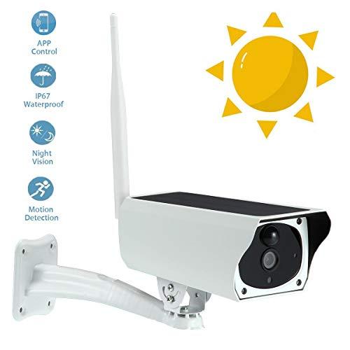 IP Kamera im Freien, 1080P WiFi Wireless Bullet Camera, IP66 wasserdichte Solar Überwachungskamera mit 10m Nachtsicht, Bewegungserkennung für Indoor Outdoor iOS Android