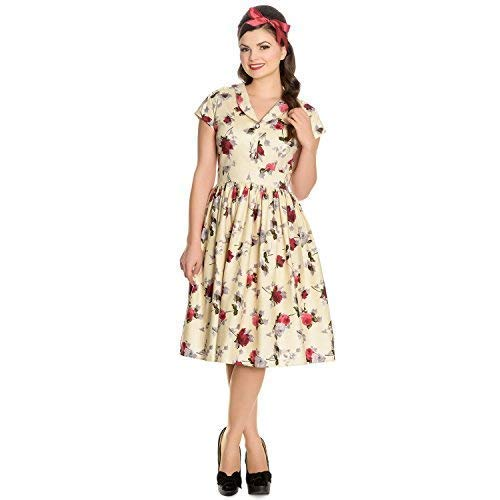 fdd1667c4ff Hell Bunny Rosemary Cream 1940s Wartime WW2 Floral Retro Vintage Victory  Dress12 M
