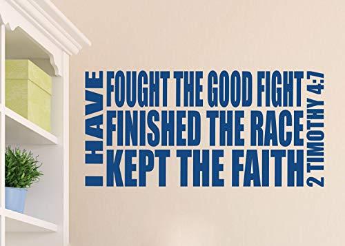 """Dozili Wandaufkleber, Vinyl, englischsprachige Aufschrift, Englische Aufschrift """"2 Timothy 4:7 I have Fought The Good Fight Finished The Race Kept The Faith"""", 30,5 x 68,6 cm"""
