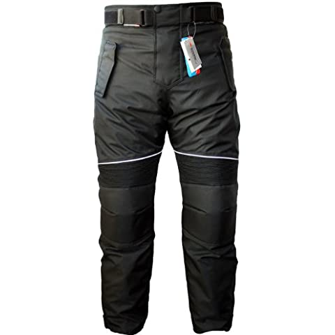 German Wear Pantalones de Cordura Transpirable para Motorista, Negro, 50