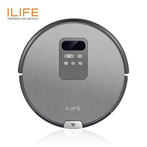 ILIFE Robot ILIFE V80 automatischer Roboter i-move Navigation mit Wischfunktion/80mm flach/Für alle Böden/Über 2 Stunden Laufzeit/Staubbehälter 750ml/Wassertank 300ml/2in1 nass Wischen oder Staubsaugen/intelligenter Timer, Silver Grey