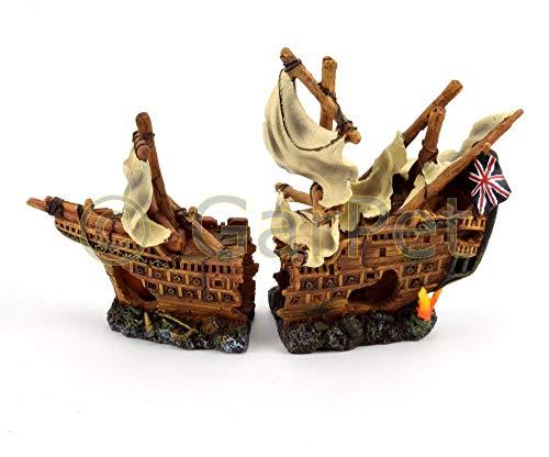 happet Aquarium Deko Kriegsschiff Piratenschiff Schiff Boot Wrack 2-teilig Schiffswrack -