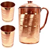 GODSON Copper Jug with 2 Glass (2000Ml of Jug, 400ML of Each Glass)