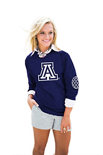 Gameday Couture NCAA Damen Puff Print Ellenbogen Patch Tee, Damen, AEP14WA, Navy, Large -