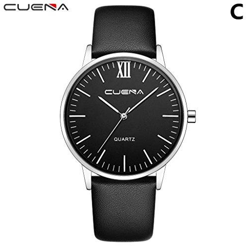 Herrenuhr Bestnote Quarz Uhren,Hevoiok Neu Exquisit Leder Designer Minimalistisch Vertraglicher Stil Uhr Herren Lässig Business Armbanduhr (Black C)