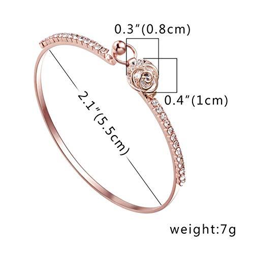 MHOOOA Elegante Frauen Kristall Rose Blume Armreif Manschette Armband Schmuck Blume Krone Herz Charme Armbänder Braut Hochzeit Edlen Schmuck