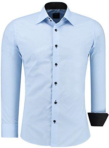 Jeel uomo camicia casual maniche lunghe contrasto slim fit tg s m l xl xxl, azzurro xl