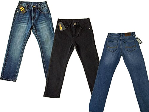 Designer Boys Jeans Elasticated Adjustable Waist Trousers Charcoal Black Faded Blue Denim Wash Children Kids Age 2 3 4 5 6 7 8 9 10 11 12 13 14 15 16 Years