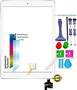 O.E.M? Komplett Touchscreen Glas Digitizer für Apple iPad Mini Display, komplett mit IC-Chip, LVA Flexkabel, Homebutton - WEIß inkl. BEST® NANO Profi 8-in-1 Werkzeugset und Reinigungsset - WEIß WHITE - NEU