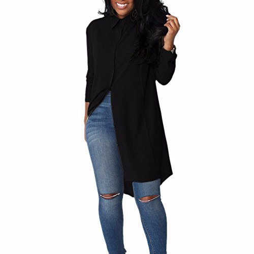 Donna lunga camicetta maglietta vestito outwear bavero solido bottone camicia (nero, xl)