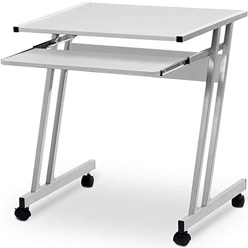 Deuba Schreibtisch Computertisch mit Rollen, 2 Bremsen Tastaturauszug platzsparend PC Laptop Tisch Computerwagen 62x48x73cm Weiß